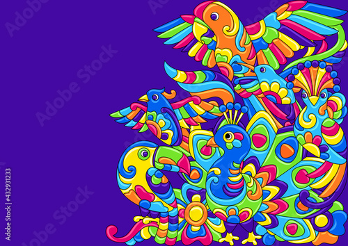 Naklejka premium Decorative background with tropical birds. Mexican ceramic cute naive art.