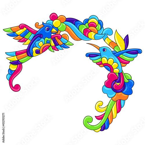 Naklejka premium Decorative frame with tropical birds. Mexican ceramic cute naive art.