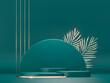Round pedestals, green cylinder, gold palm leaves - 3d render illustration. Sculptural composition for creative advertising. Empty podium, base for product promotion. Luxury dark royal mockup
