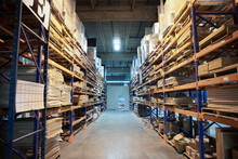 Distribution Warehouse With High Shelves