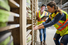 Workers Checking Stocks In Shelves At Distribution Warehouse