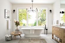 Luxury Home Showcase Interior Bathroom With Soaking Tub In Window
