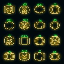 Pumpkin Icons Set. Outline Set Of Pumpkin Vector Icons Neon Color On Black
