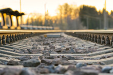 Railroad Rails On Concrete Sleepers. Updated Railway For High-speed, Express Train Railway, Close-up, Estonia