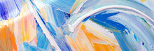 Abstract Colorful Oil Painting Closeup. Thick Paint Texture For Mental Wellness Concept, Art Banner, Music Festival Backdrop, Gradient Background. Mental Health Concept. Vivid Impasto Oil On Canvas.