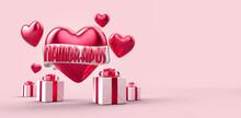 Dia Dos Namorados Com Caixa De Presente, Texto 3d Vermelho, Com Faixa E Coração Em Fundo Cor De Rosa