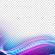 Elegant Light Frame, Wavy Neon Light, Isolated On Transparent Pattern. Vector Illustration