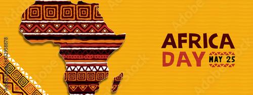 Africa day tribal ethnic art african map banner - fototapety na wymiar
