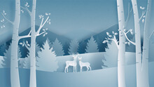 Winter Landscape With Deer Couple Forest Paper Cut Style