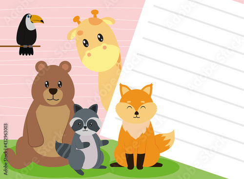 Naklejka premium bear and animals with paper note