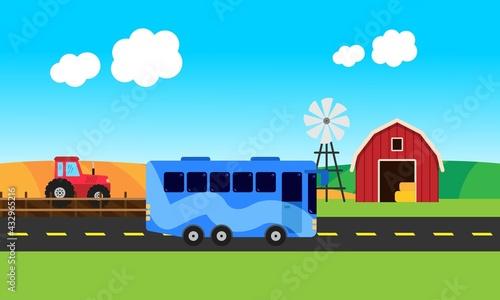 Foto Autobús en medio de la carretera con granja de fondo.