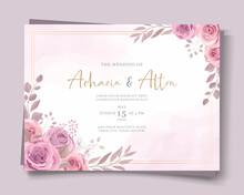 Beautiful Pink Floral Wedding Invitation Card Design