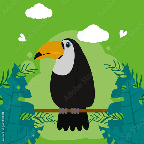 Naklejka premium toucan with palm leaves