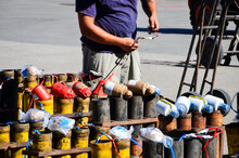 Pyrotechnics Set Up In Spain For Fireworks Display