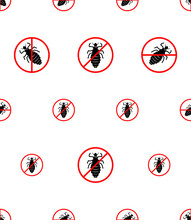 No Louse Icon Seamless Pattern, Lice Free Icon, Anti Lice, Wingless Insect, Obligate Parasite