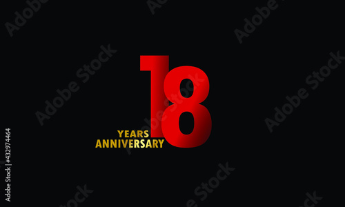 Fotografering 18 year anniversary red color, minimalist logo years, jubilee, greeting card