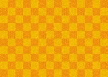 金色とオレンジの菱青海波と市松模様の和紙