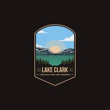Emblem Patch Logo Illustration Of Lake Clark National Park And Preserve On Dark Background