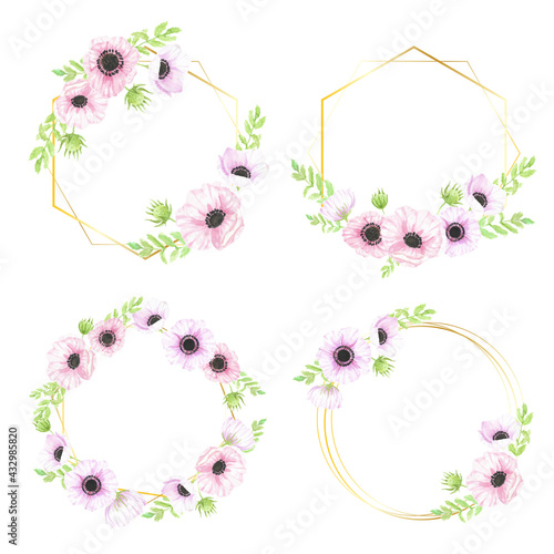 watercolor hand drawn anemone flower bouquet wreath with gold geometric frame fo Fototapet