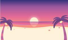 夏 夕暮れの海辺 サンセット 背景素材 ベクターイラスト