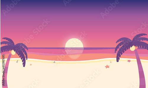 Fotografia 夏 夕暮れの海辺 サンセット 背景素材 ベクターイラスト