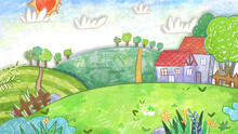 Vegetable Garden Farm Spring Morning Backdrop Background. Cute Oil Pastel Drawing Crayon Doodle For Children Book Illustration, Poster, Or Wall Painting.