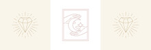 Woman Hands With Moon Crescent And Diamond In Boho Linear Style Vector Illustrations Set.
