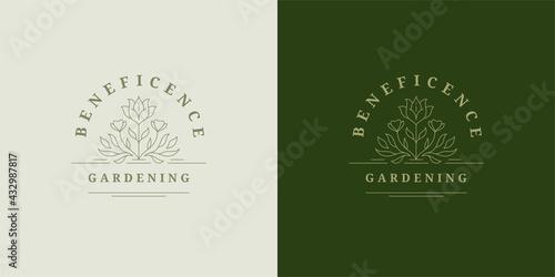 Fototapeta Abstract blooming flower logo emblem design template vector illustration in minimal line art style obraz