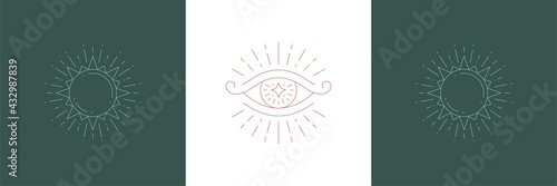 Magical eye of wisdom and sun in sparks in boho linear style vector illustrations set.