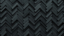 Herringbone, Semigloss Mosaic Tiles Arranged In The Shape Of A Wall. Polished, Concrete, Bricks Stacked To Create A 3D Block Background. 3D Render