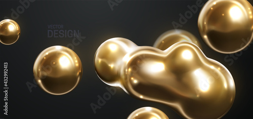 Abstract 3d background with flowing gold spheres.