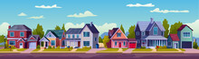 Urban Or Suburban Neighborhood At Night, Houses With Lights, Late Evening Or Midnight. Vector Homes With Garages,trees And Driveway. Suburb Village Landscape With Cottage Buildings, Street Lamps