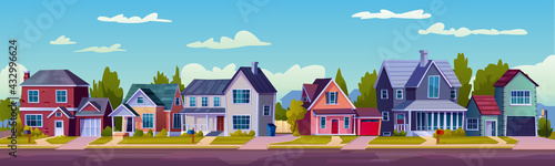 Obraz na plátně Urban or suburban neighborhood at night, houses with lights, late evening or midnight