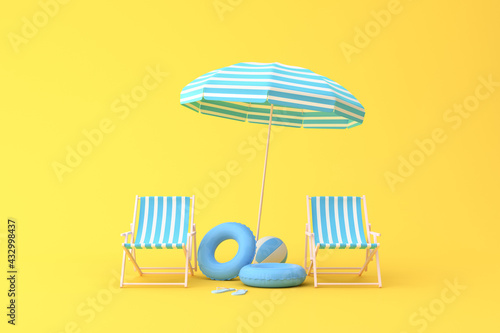Fototapeta Minimal scene of beach chairs and umbrella on yellow background, Summer concept, 3D rendering