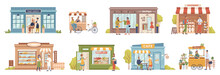 Small Business People And Building Set, Shops And Stores, Cafe And Barbershop, Buyers And Vendors, Clients Customers. Vector Grocery Store And Bakery, Coffee Cafe, Barbershop, Flower Store, Boutique