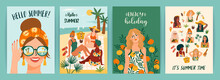 Set Of Bright Summer Illustrations With Cute Women. Summer Holliday, Vacation, Travel. Vector Templates