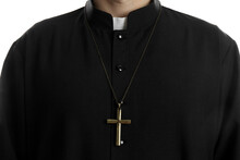 Priest With Cross On White Background, Closeup