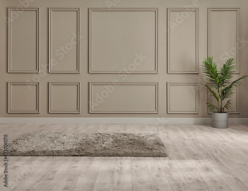 Fototapeta Classic brown wall background, interior room, carpet with chair style, vase of plant detail. obraz