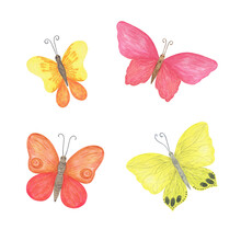 Multicolored Butterflies Set Watercolor Illustration Violet, Pink, Blue, Red, Yellow, Simple Hand Drawn Colorful Clipart For Cards, Invitations, Textile Or Any Other Design Purposes