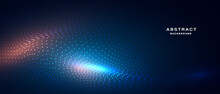 Abstract Digital Technology Background With Glowing Particle Wave. Vector Illustration.
