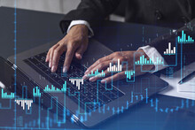 Woman Typing The Keyboard To Research Stock Market To Proceed Right Investment Solutions. Internet Trading And Wealth Management Concept. Formal Wear. Hologram Forex Chart Over Close Up Shot.