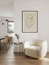 3d Rendering Of A Minimal Relaxed Space With Earthy Tones And A Beige Sheepskin Club Armchair