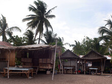 Unsightly Abandoned Resort Bamboo And Wooden Cottages Left Untended By The Owners Due To Bankruptcy Due To The Relentless And Never-ending Imposition Of Covid-19 Pandemic Community Lockdowns