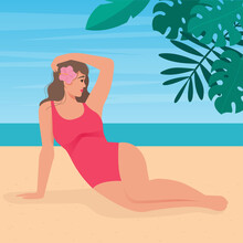 Beautiful Young Woman In Swimsuit On The Sand Beach With Sea Background. Summer In Tropic. Vector Illustration In Flat Style