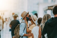Couple Wearing Protective Face Masks Kissing On City Street - New Normal Concept With Boyfriend And Girlfriend In Love Outdoor - People, Healthcare And Love Concept