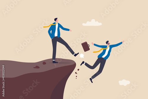 Obraz na plátně Business dishonesty, betrayal or jealousy colleague, career competitor or cheating concept, businessman kick business partner fall off the cliff