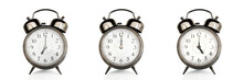 Old Vintage Alarm Clocks At Different Time Of The Days Isolated On Panoramic White Background. Morning, Noon,afternoon,evening Concept