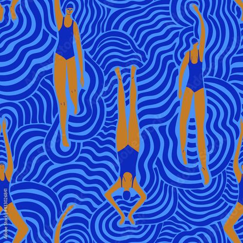Swimming women in surreal waves seamless pattern - fototapety na wymiar
