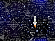 Scientific Vector Seamless Background With Handwritten Mathematical And Physical Formulas, Rocket, Figures, Plots And Calculations