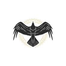Mystic Flying Raven Hand Drawn Silhouette Vector Illustration